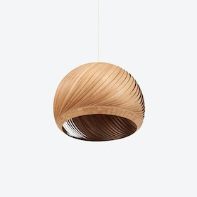 Wind Lampshade in Bamboo Veneer (White Cable)