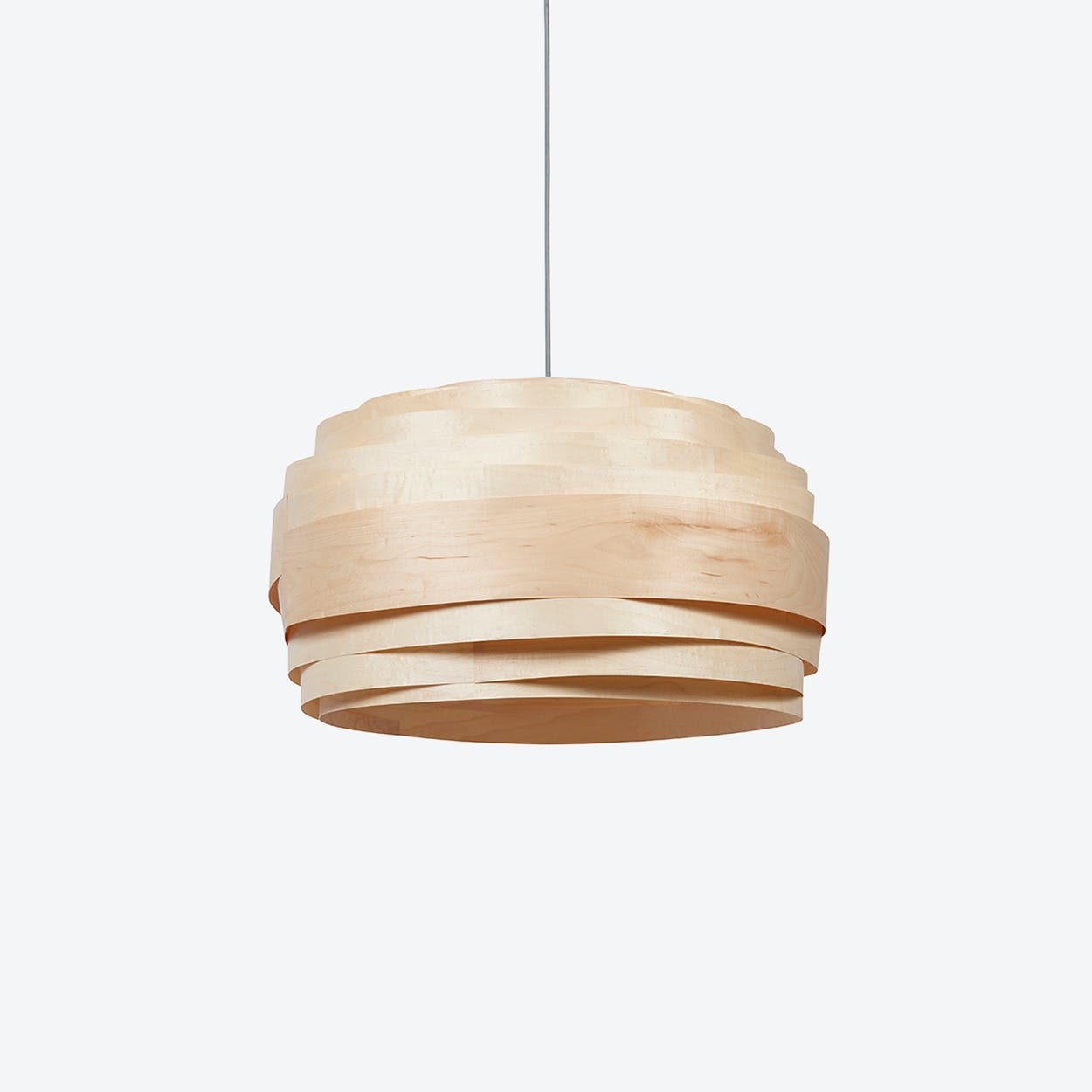 Light Cloud Lampshade in Maple Veneer (White Cable)