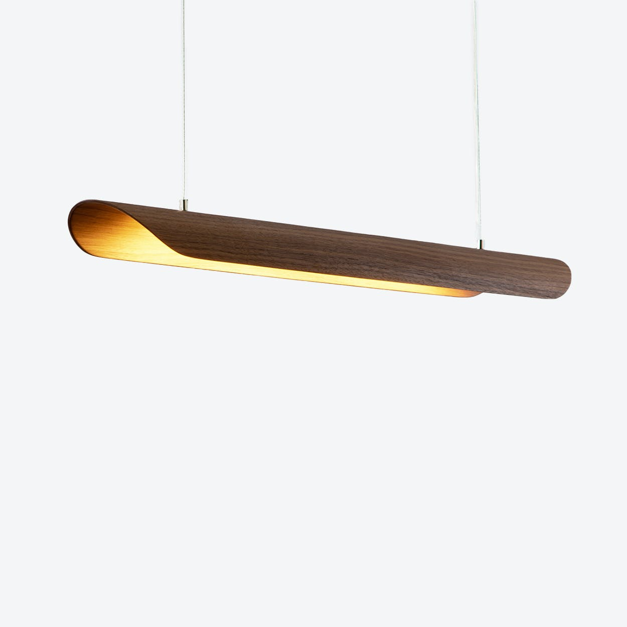 Canoe LED Light in Walnut Veneer (Transparent Cable)