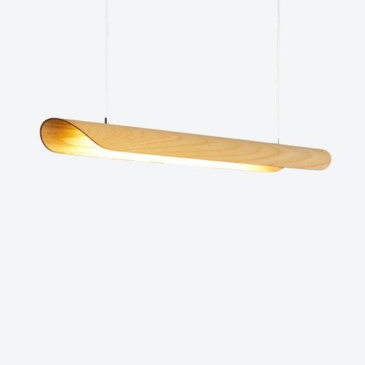 Canoe LED Light in Ash Veneer (Transparent Cable)
