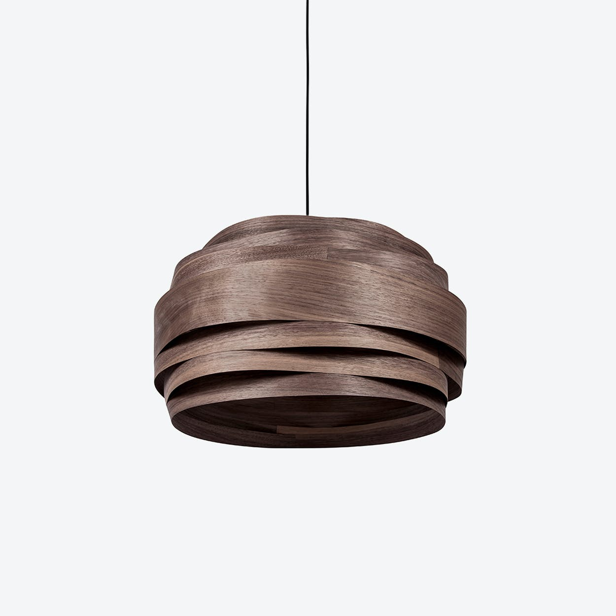 Light Cloud Lampshade in Walnut Veneer (Black Cable)