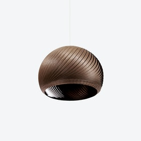 Wind Lampshade in Walnut Veneer (White Cable)