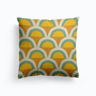 Mid Mod Rainbow Green Canvas Cushion