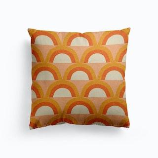 Mid Mod Rainbow Pink Canvas Cushion