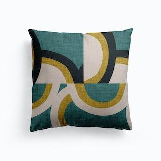 New Mid Mod Olive Canvas Cushion