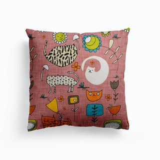 Spring Cat Pink Canvas Cushion