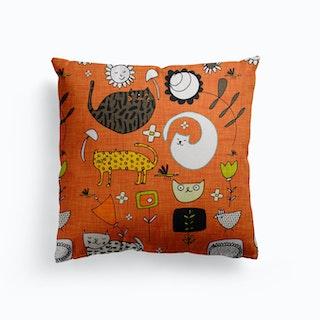 Spring Cat Orange Canvas Cushion