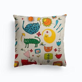 Spring Cat Beige Canvas Cushion