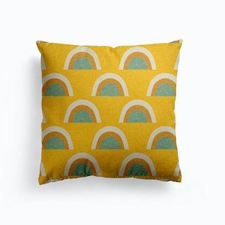 Rainbow Mustard Canvas Cushion
