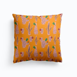 Mid Mod Cactus Yellow   Cushion