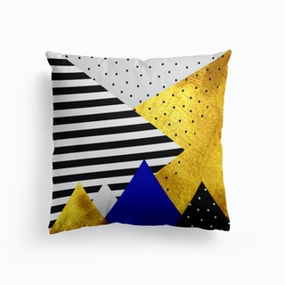 Gold Abstract Blue   Cushion