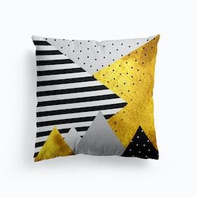 Gold Abstract Grey    Cushion
