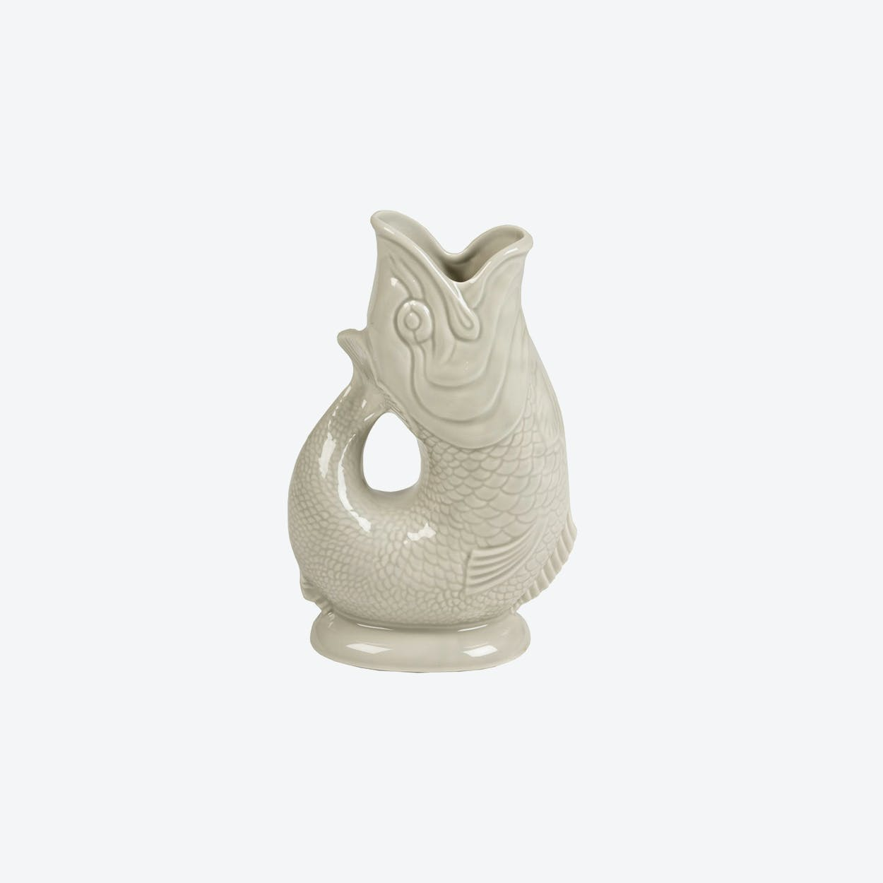 Ceramic Fish Shaped Water Jug XL in Light Grey