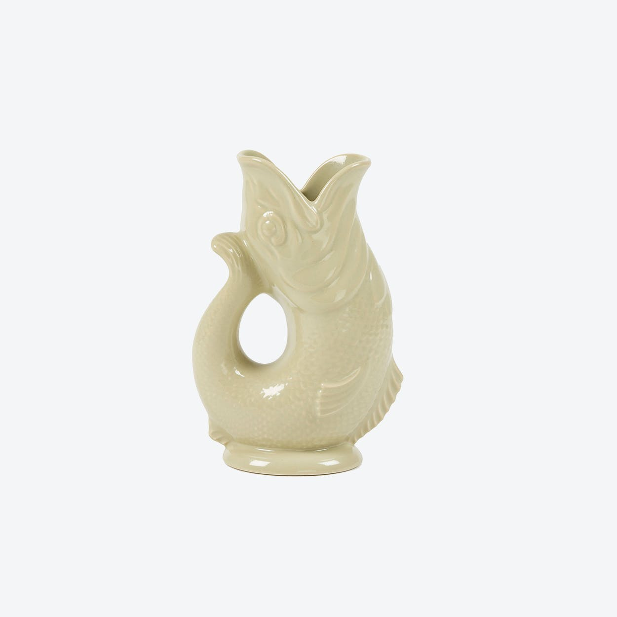 Ceramic Fish Shaped Water Jug XL in Taupe