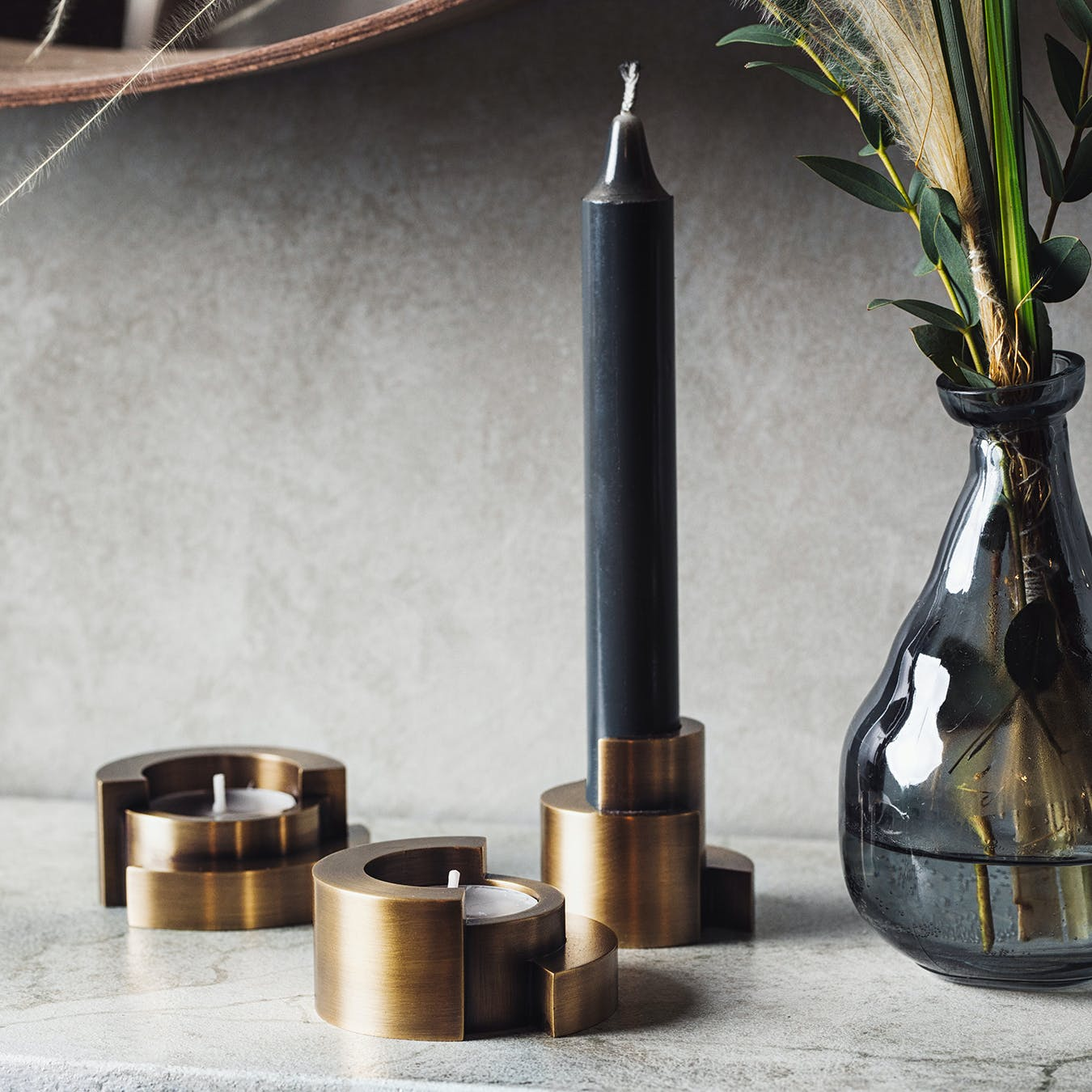 Circular Candle Holder in Aged Brass