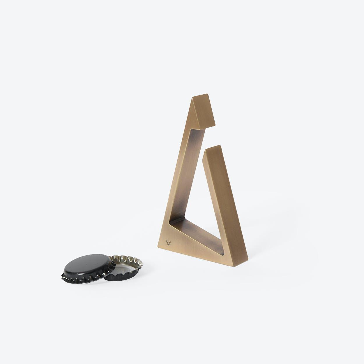Triangle Bottle Opener in Aged Brass