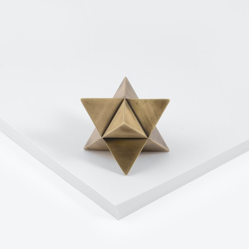 Merkaba Paperweight in Aged Brass