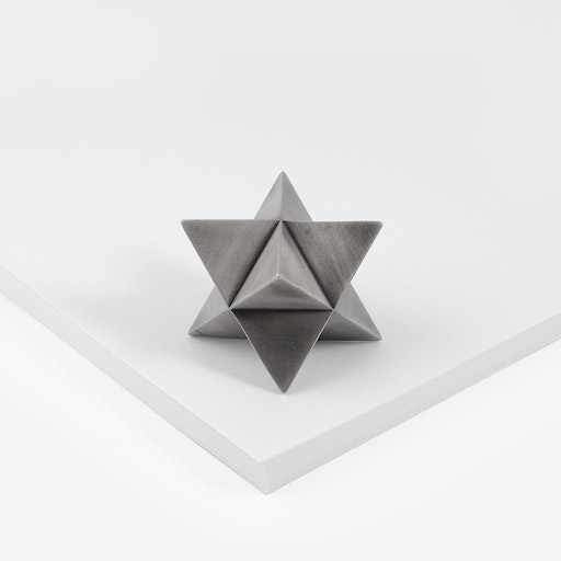 Merkaba Paperweight in Aged Silver
