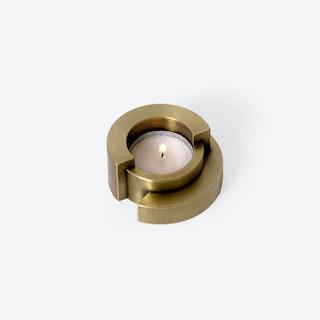 Circular Tealight Holder in Aged Brass