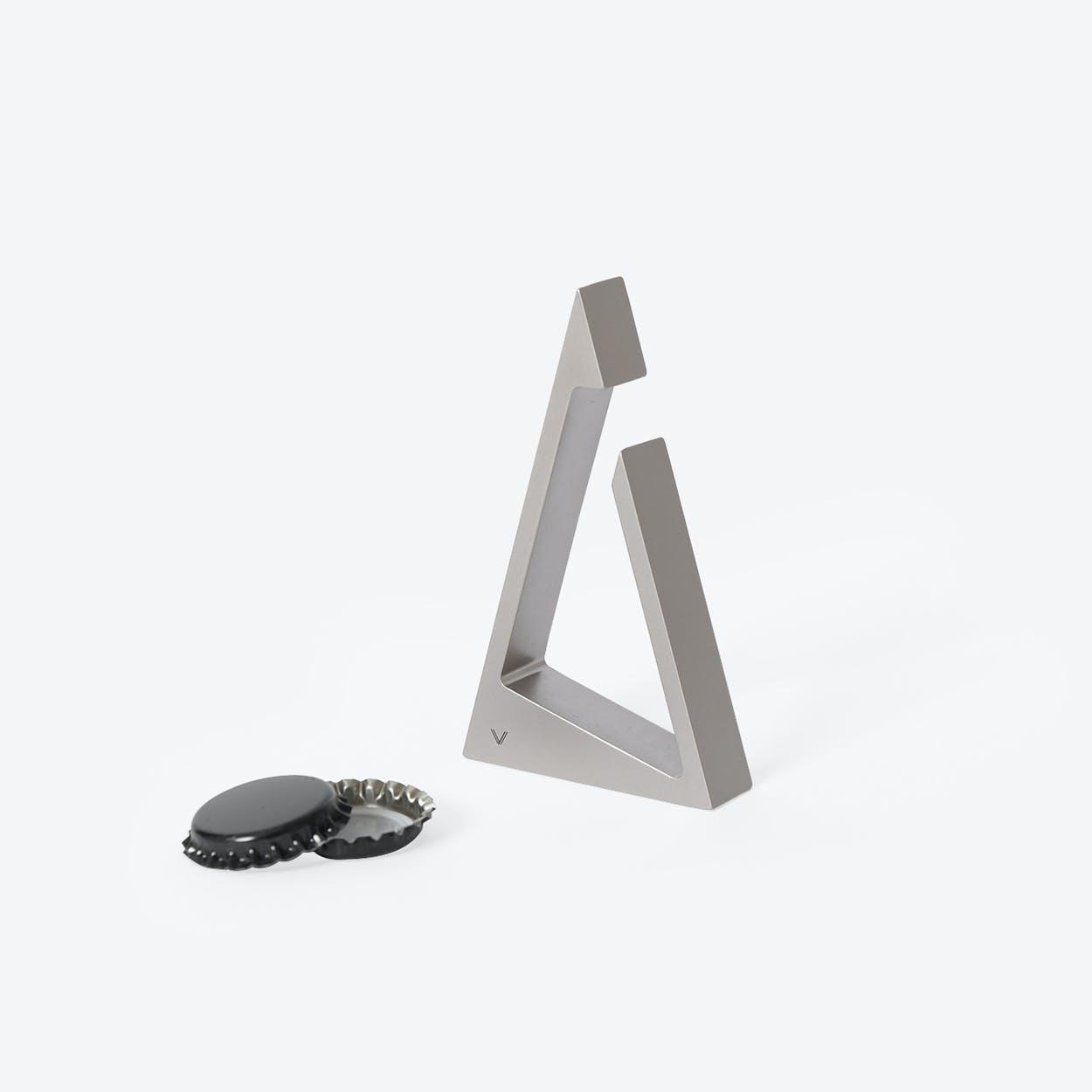 Triangle Bottle Opener in Satin Silver