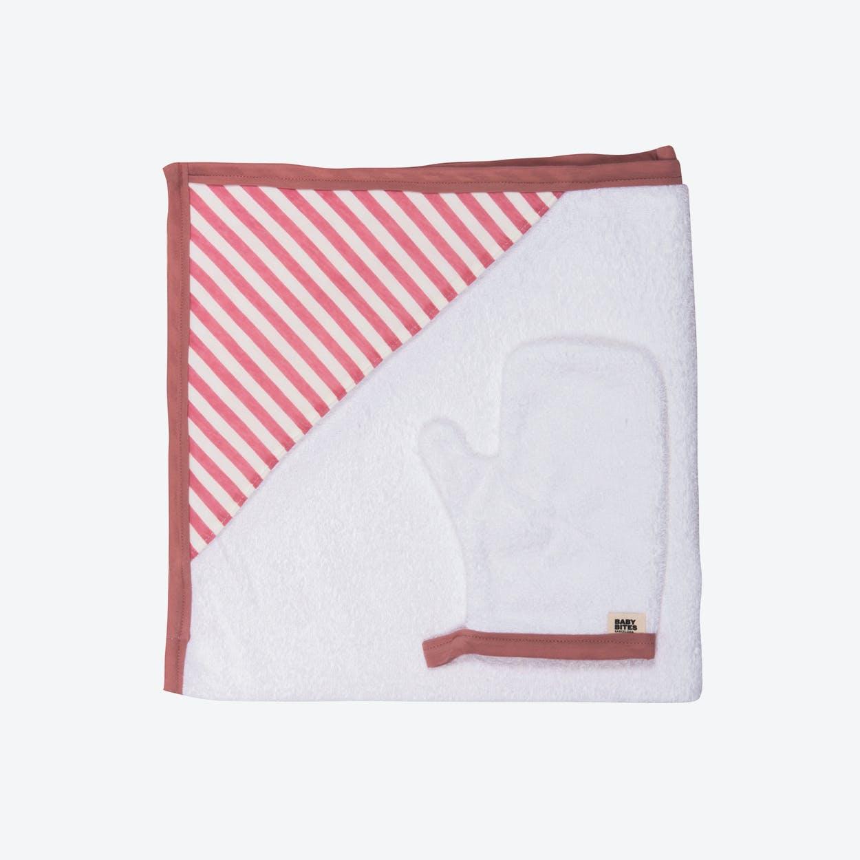 Pink Striped Newborn Towel