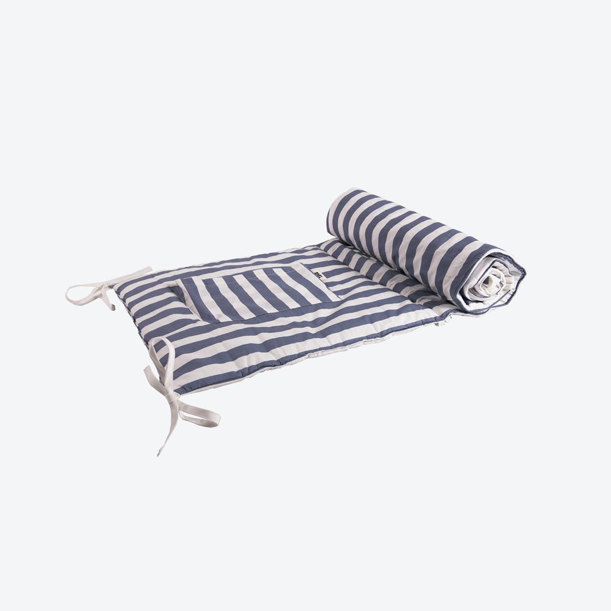 Reversible Blue Striped Cot Protector