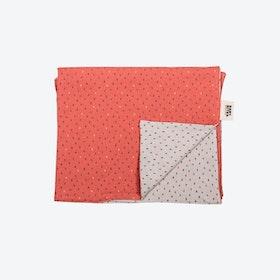 Coral & Beige Polka Dot Pattern Baby Bouncer Blanket