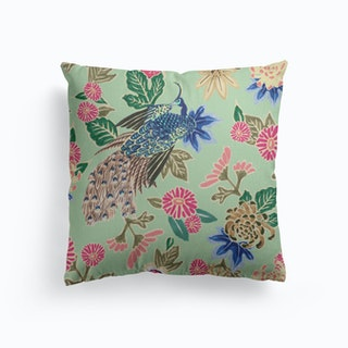 Peacocking Print In Mint Canvas Cushion