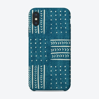 Mud Cloth Patchwork In Teal Phone Case