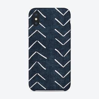 Mud Cloth Big Arrows In Navy Blue Phone Case
