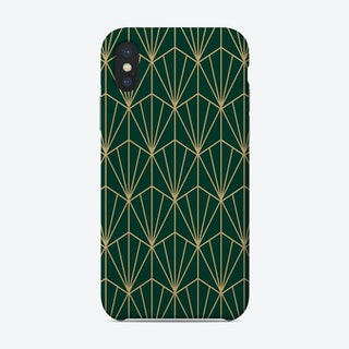 Art Deco In Green And Gold Phone Case