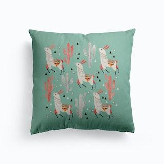 Llama In Green Desert Canvas Cushion