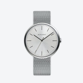 M38 Brushed Steel with Silver Dial and Stainless Steel Milanese Mesh Strap