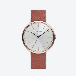 M38 Rosé Gold with Silver Dial and Tan Leather Strap