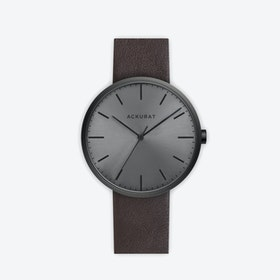 M38 PVD Black with Black Dial and Brown Leather Strap