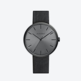M38 PVD Black with Black Dial and Black Leather Strap