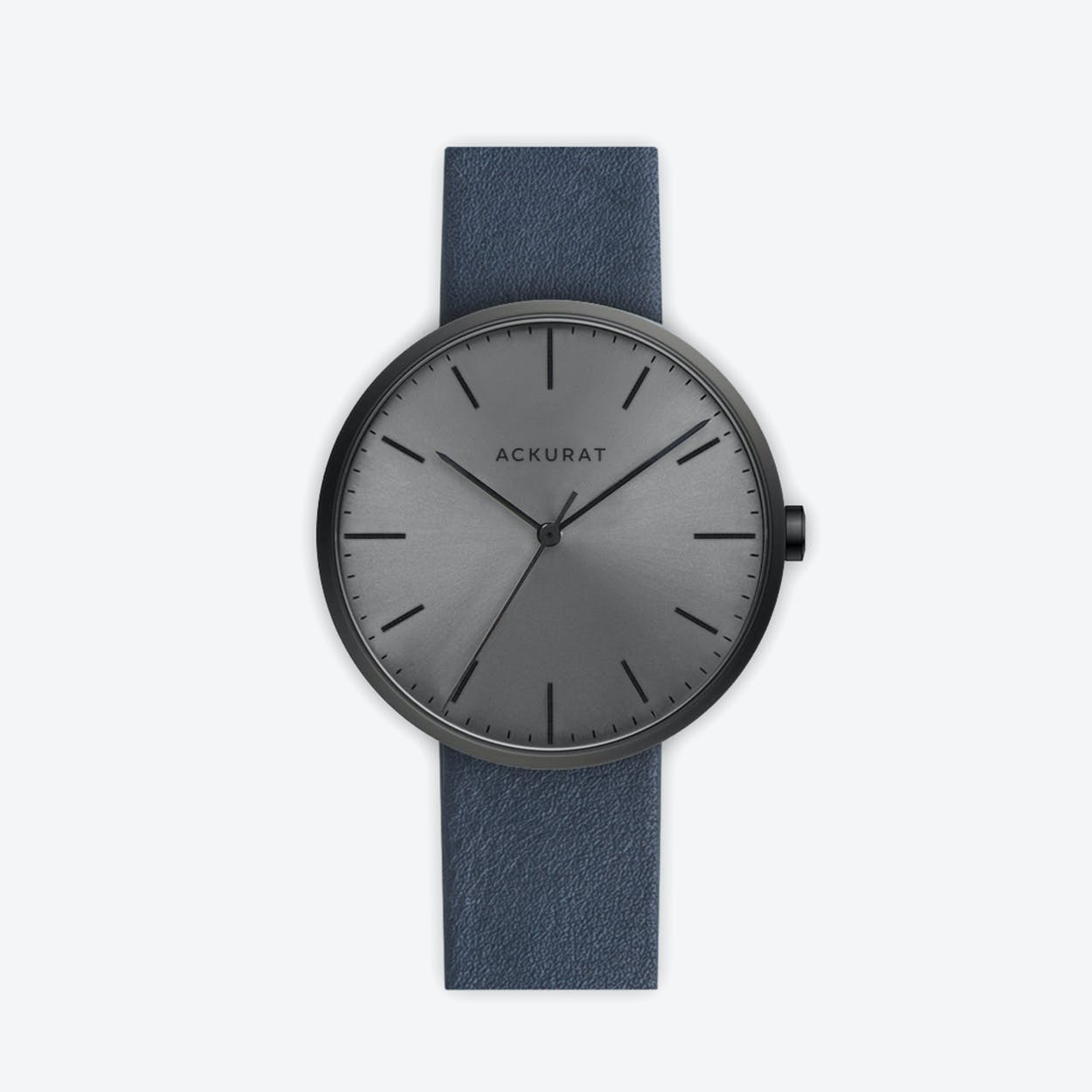 M38 PVD Black with Black Dial and Blue Leather Strap