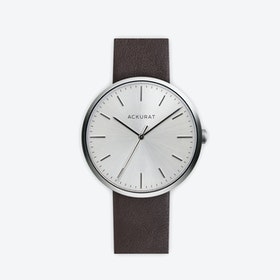 M38 Brushed Steel with Silver Dial and Brown Leather Strap