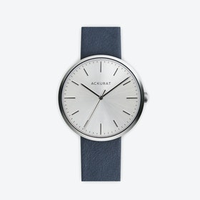 M38 Brushed Steel with Silver Dial and Blue Leather Strap