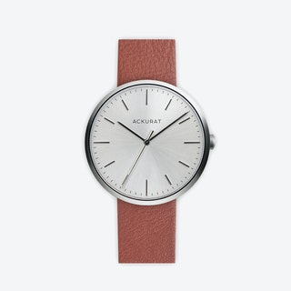 M38 Brushed Steel with Silver Dial and Tan Leather Strap