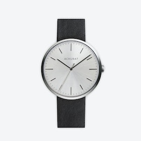 M38 Brushed Steel with Silver Dial and Black Leather Strap
