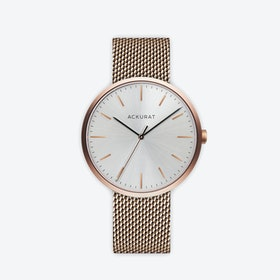 M38 Rosé Gold with Silver Dial and Stainless Steel Milanese Mesh Strap