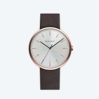 M38 Rosé Gold with Silver Dial and Brown Leather Strap