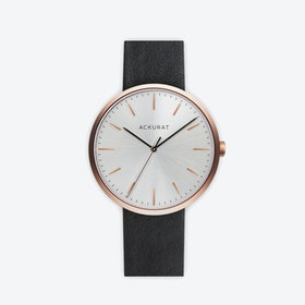 M38 Rosé Gold with Silver Dial and Black Leather Strap