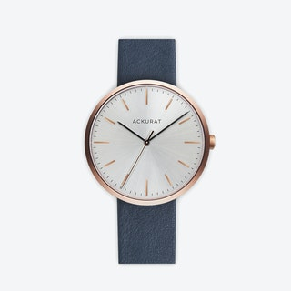 M38 Rosé Gold with Silver Dial and Blue Leather Strap