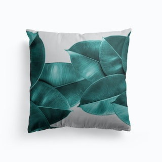 Green Ficus Leaves Cushion