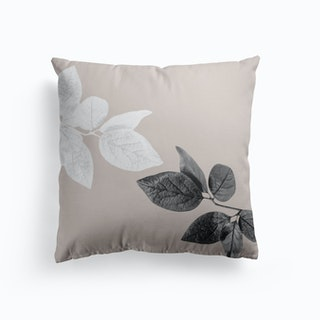 Black And White Leaves Cushion