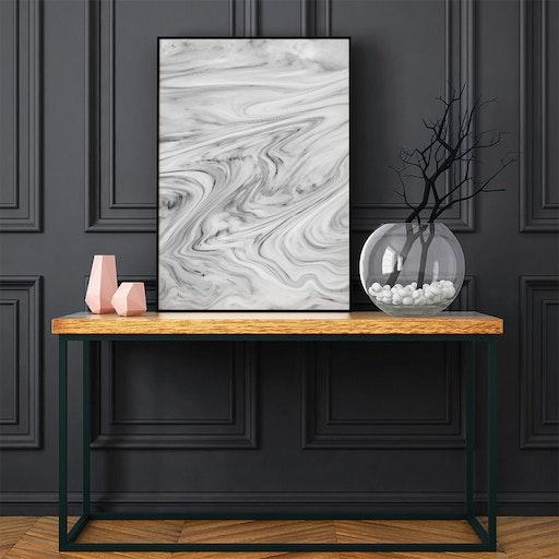 Black White Marble Art Print