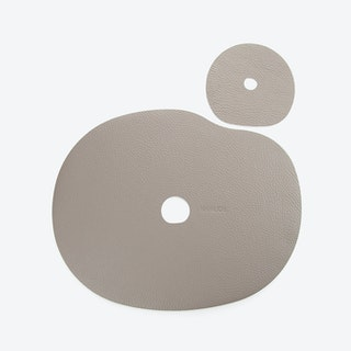 Millstones Table Mat Set in Brown/Natural Leather