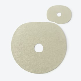 Millstones Table Mat Set in Creamy White / Natural Leather